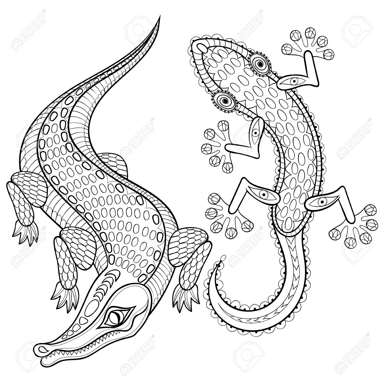 1300x1300 Hand Drawn Zentangled Crocodile And Lizard For Adult Coloring