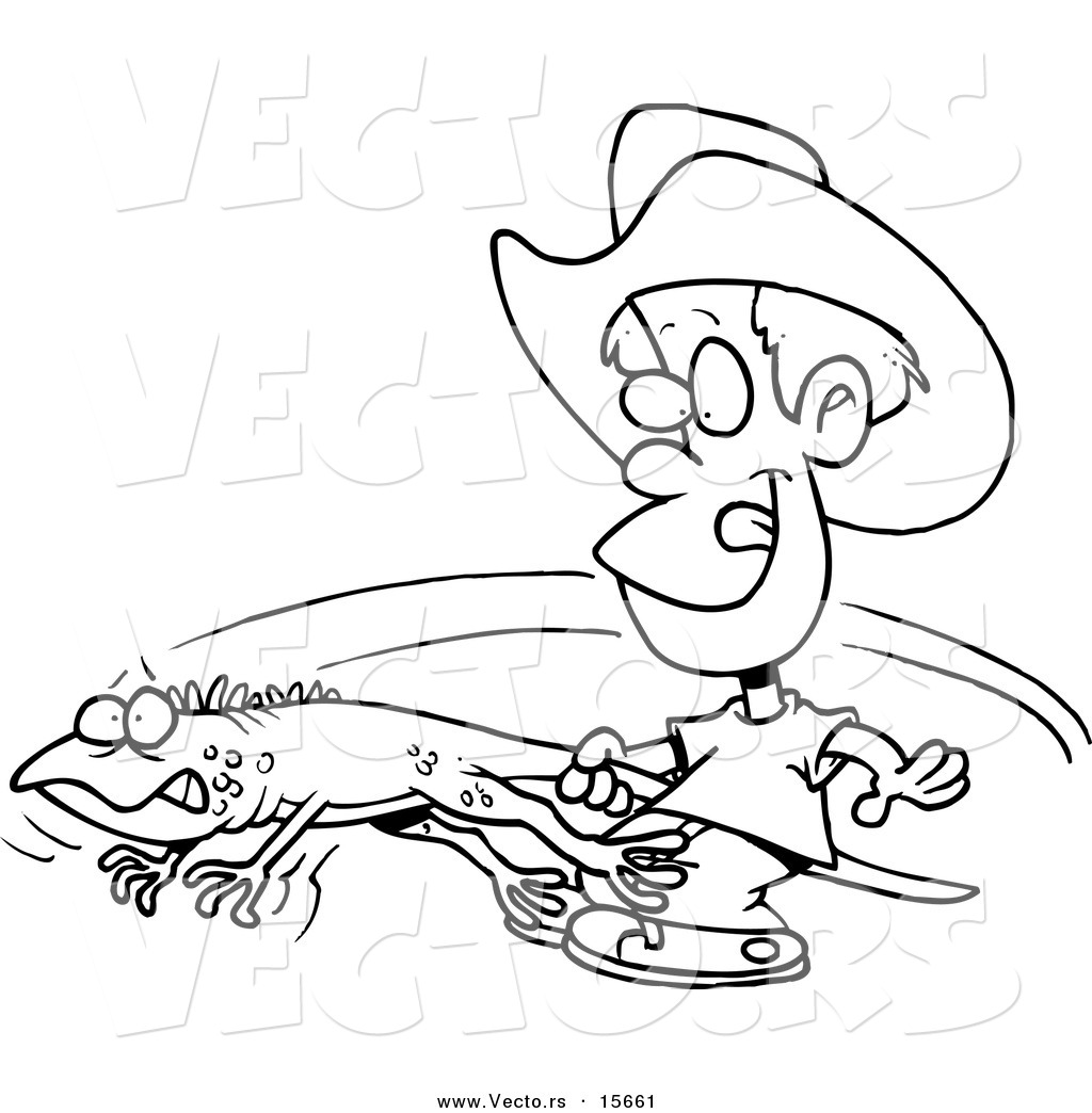 1024x1044 Vector Of A Cartoon Boy Catching An Iguana