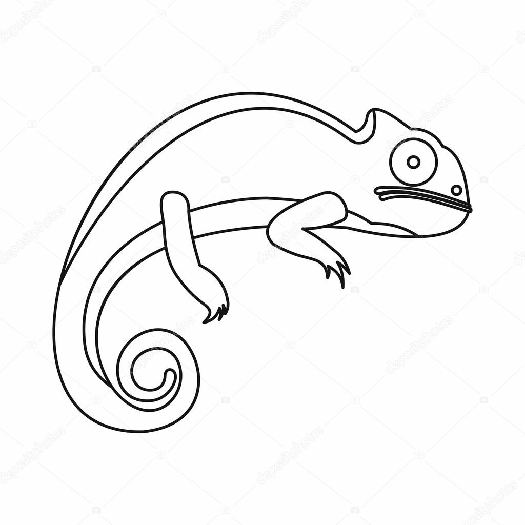 1024x1024 Chameleon Icon, Outline Style Stock Vector Ylivdesign