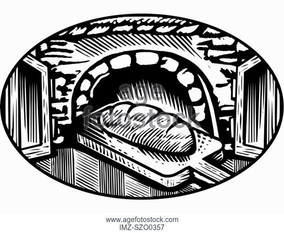 569x467 A Drawing Of Loaves Of Bread Illustrated In Black And White, Stock