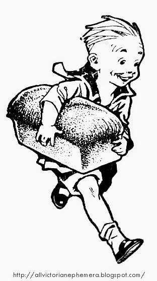 312x558 Boy Running With A Loaf Of Bread All Victorian Ephemera