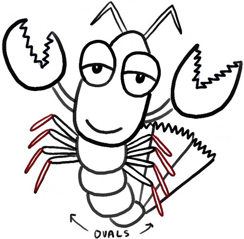 500x491 How To Draw Cartoon Lobsters With Easy Step By Step Drawing