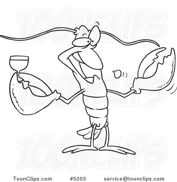 581x600 Cartoon Black And White Line Drawing Of A Lobster Drinking Wine