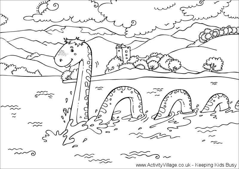 800x566 Loch Ness Monster Colouring Page Scotlandengland Trip