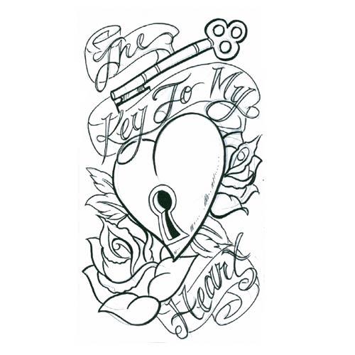500x500 Heart Key Tattoo Designs