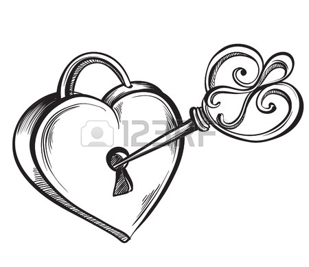 450x389 Valentine Heart. Key Lock In The Shape Of A Heart. Hand Drawn