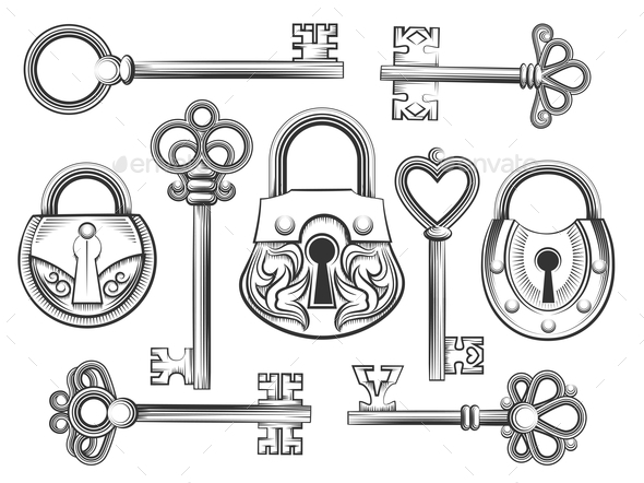 lock and key drawing. Simple And 590x442 Vintage Lock And Key Throughout Lock And Key Drawing K