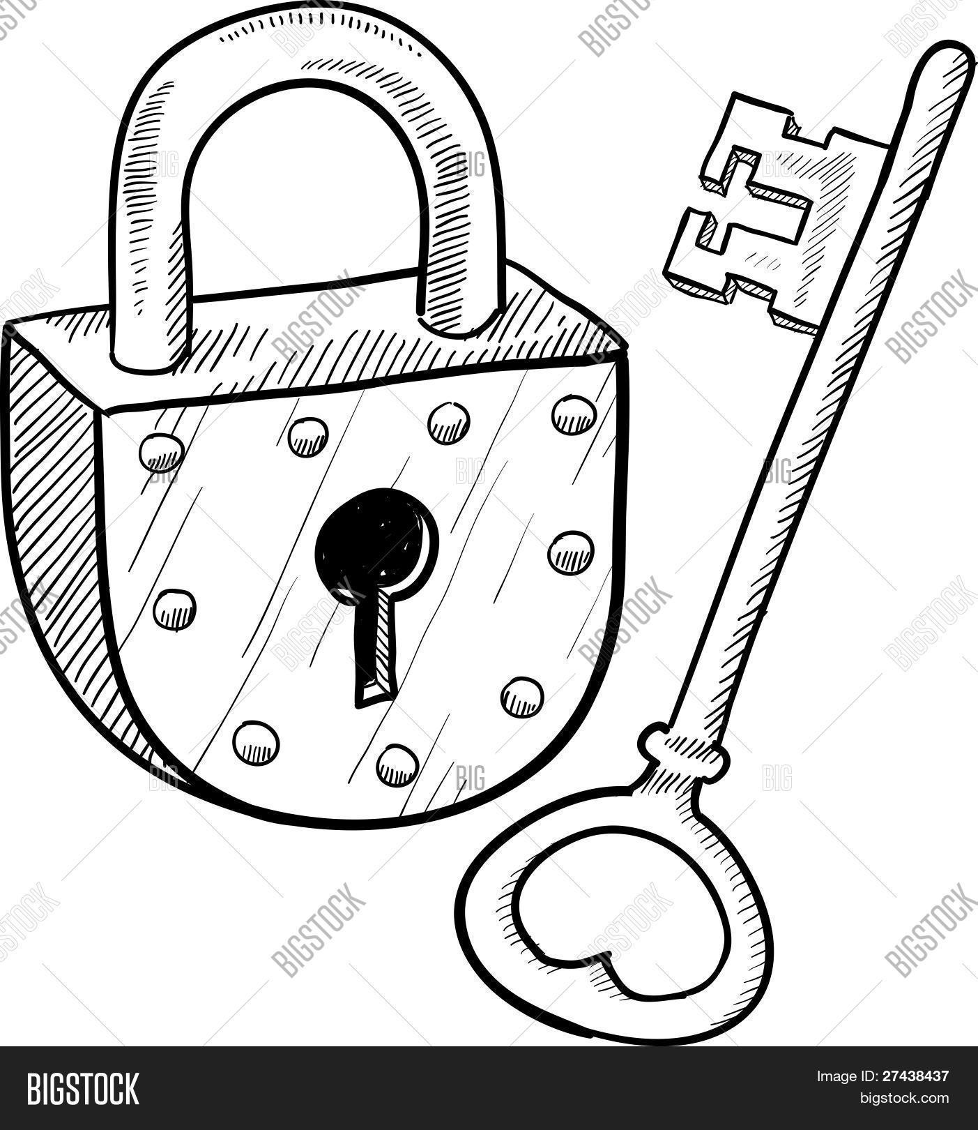 Lock And Key Drawing at GetDrawings.com | Free for personal use Lock ... for Lock And Key Clipart Black And White  111bof