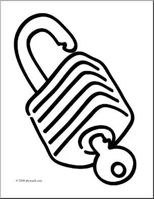 304x392 Clip Art Basic Words Lock (Coloring Page) I Abcteach