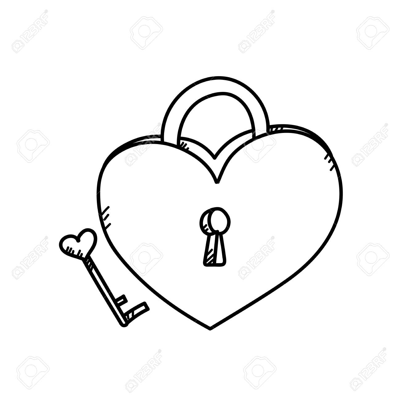 1300x1300 Freehand Drawing Heart Lock Illustration Stock Photo, Picture