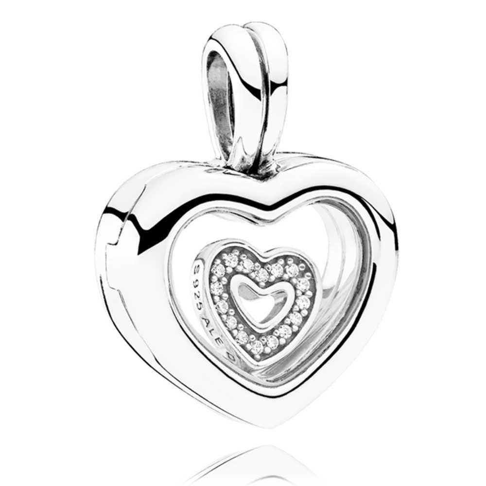 1000x1000 Pandora Petite Memories Floating Heart Locket Charm 792111cz