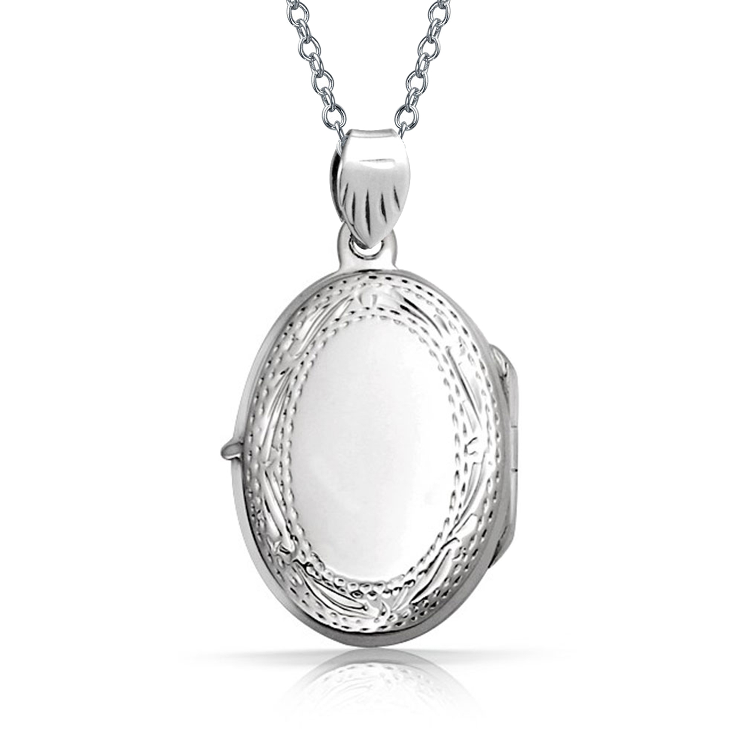 1500x1500 Vintage Style Engraved Oval Locket Pendant 925 Sterling Silver