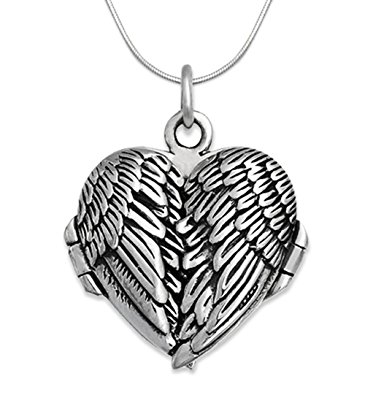 365x395 Genuine 925 Sterling Silver Angel Wings Locket Necklace On 18
