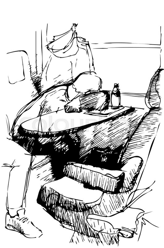 530x800 Black And White Vector Sketch Of A Young Man Sleeping On A Table