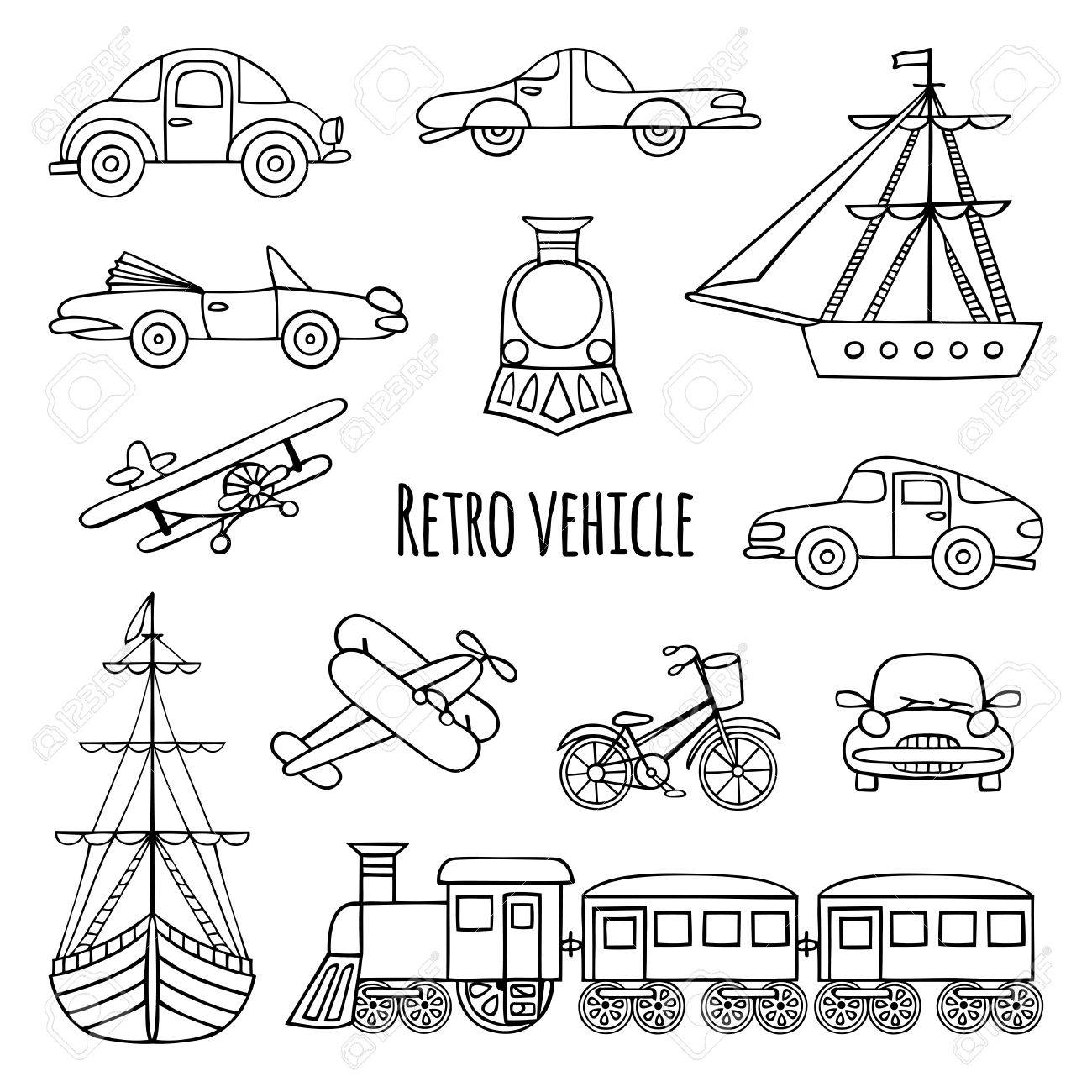 1300x1300 Set Of Retro Transport. Black And White Drawings By Hand. Cars