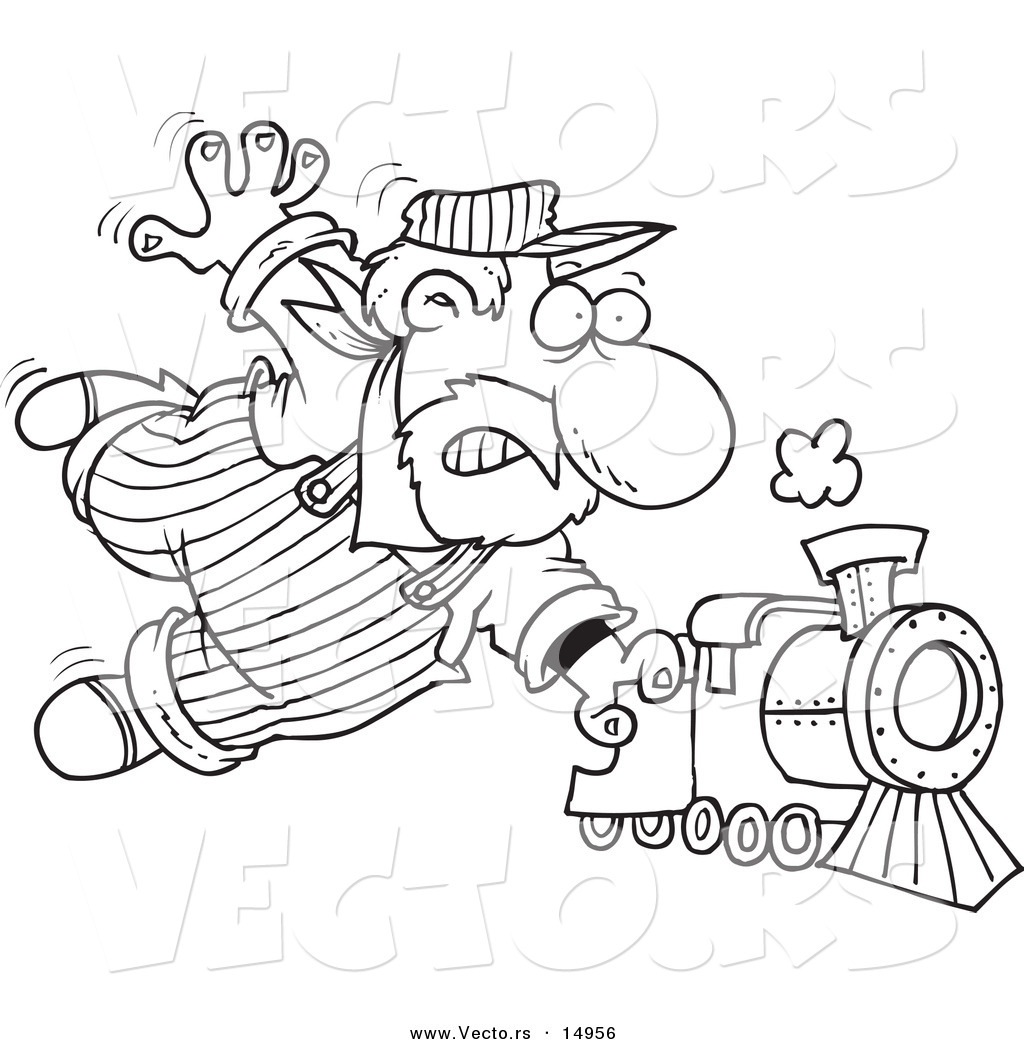1024x1044 Vector Of A Cartoon Locomotive Engineer Holding Onto A Fast Steam