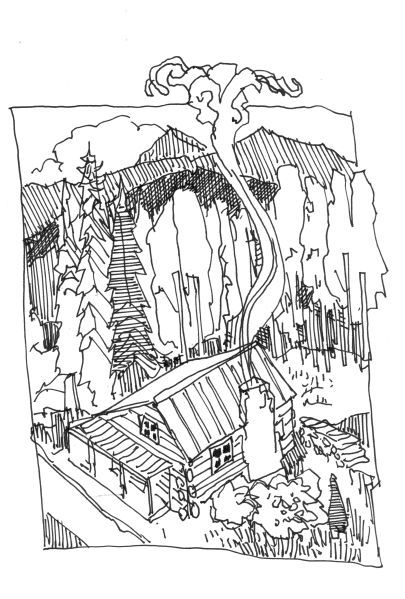 Log Cabin Drawing