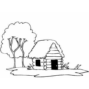 300x300 Log Cabin Coloring Page