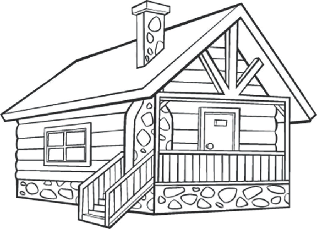Log cabin drawing at free for personal for Log cabin coloring page