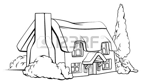 450x270 Isometric Wooden Houses. Log Cabin, Wood Windmill, Rustic Outhouse