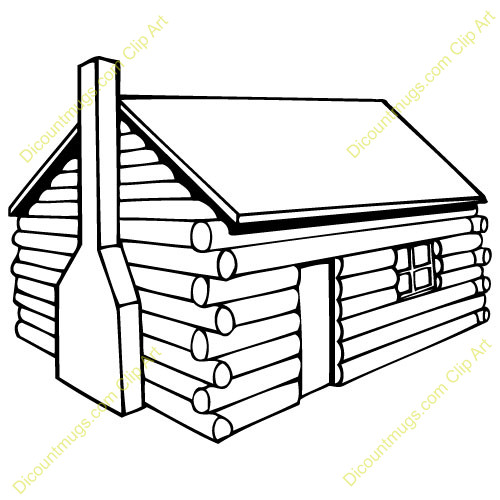500x500 Log Cabin Coloring Page
