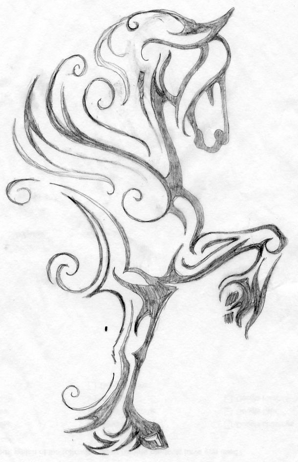 610x944 My Latest Horse Logo Design. Here Is Rough Pencil Drawing.