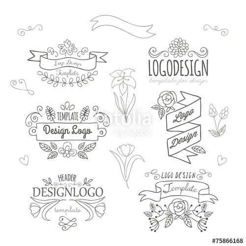 500x500 Set Of Logo Design Hand Drawing Elements With Flowers And Banner