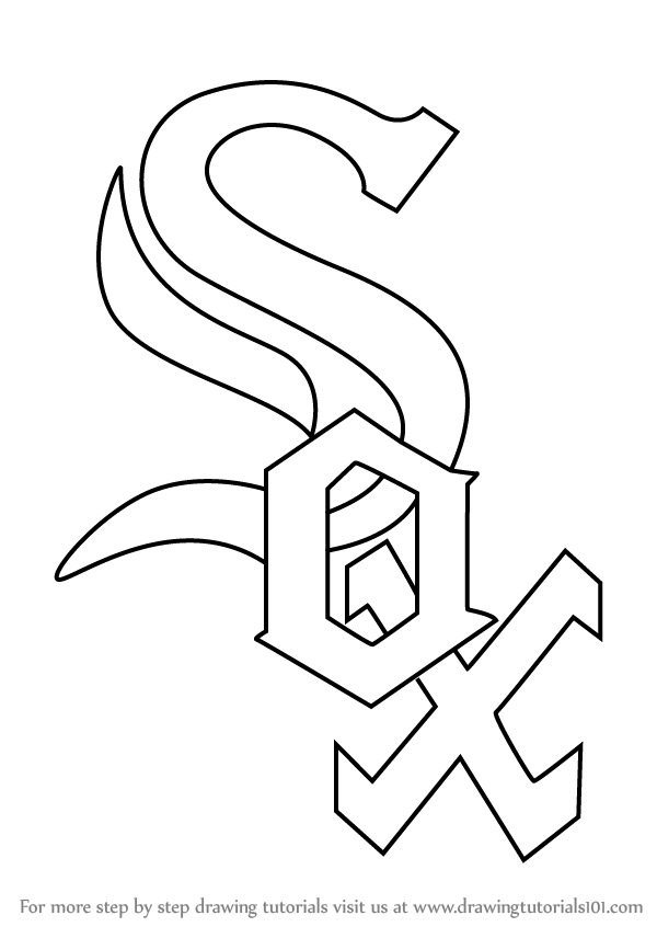 600x846 Learn How To Draw Chicago White Sox Logo (Mlb) Step By Step