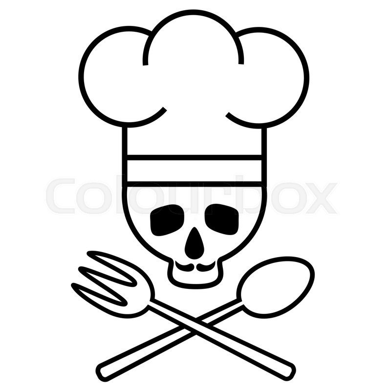 800x800 Skull Chef In Chef S Hat With Crossed Spoons. Logo, Icon. Black