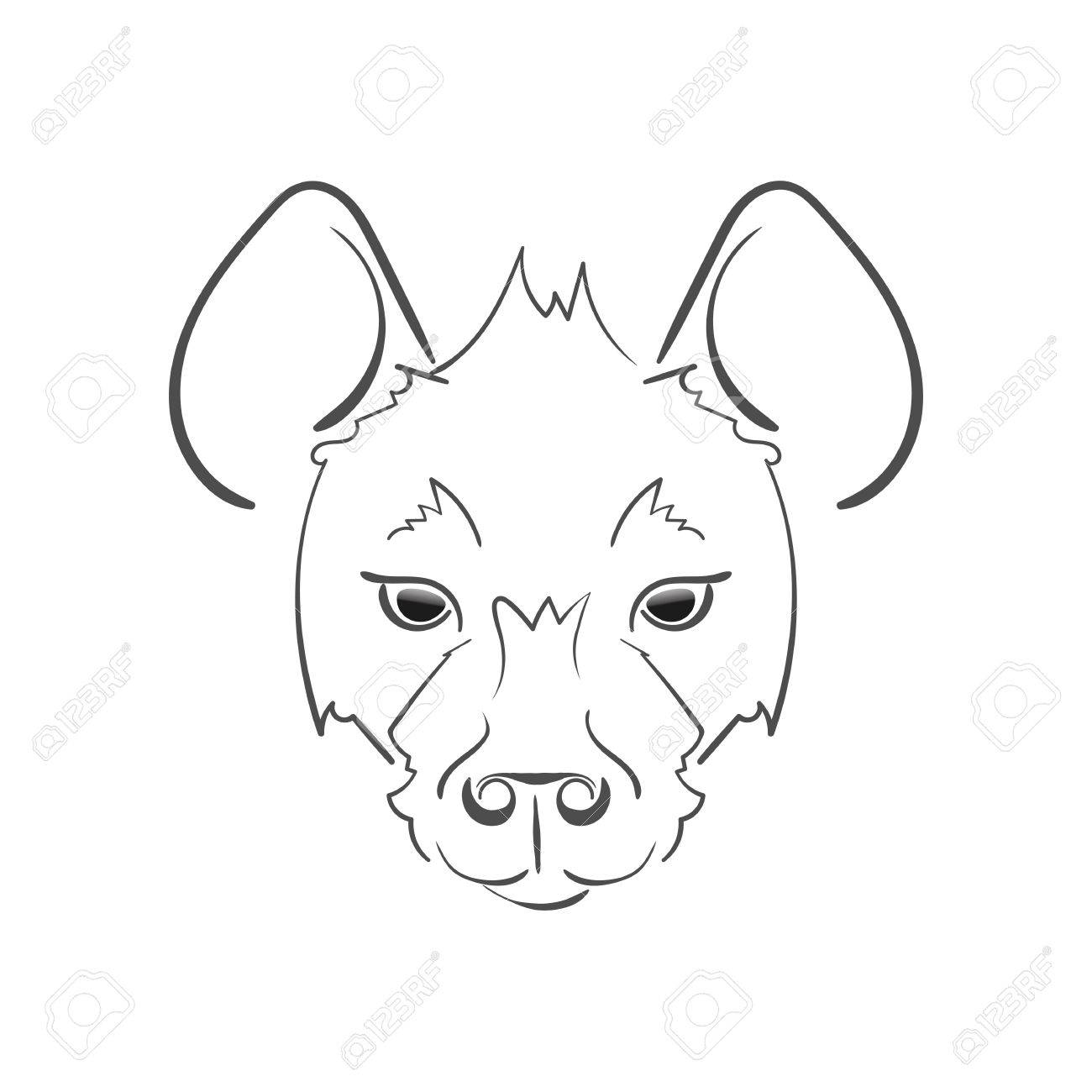 1300x1300 Stylized Muzzle Hyena Black And White Sketch. For Use As Logos