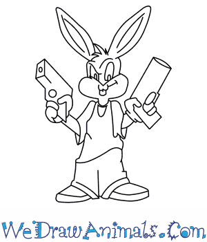 300x350 How To Draw Gangster Bugs Bunny From Looney Tunes