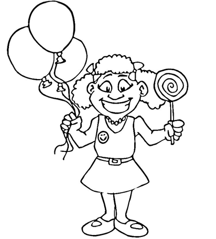 433x480 Happy Girl With Lollipop Coloring Page Free Printable Coloring Pages