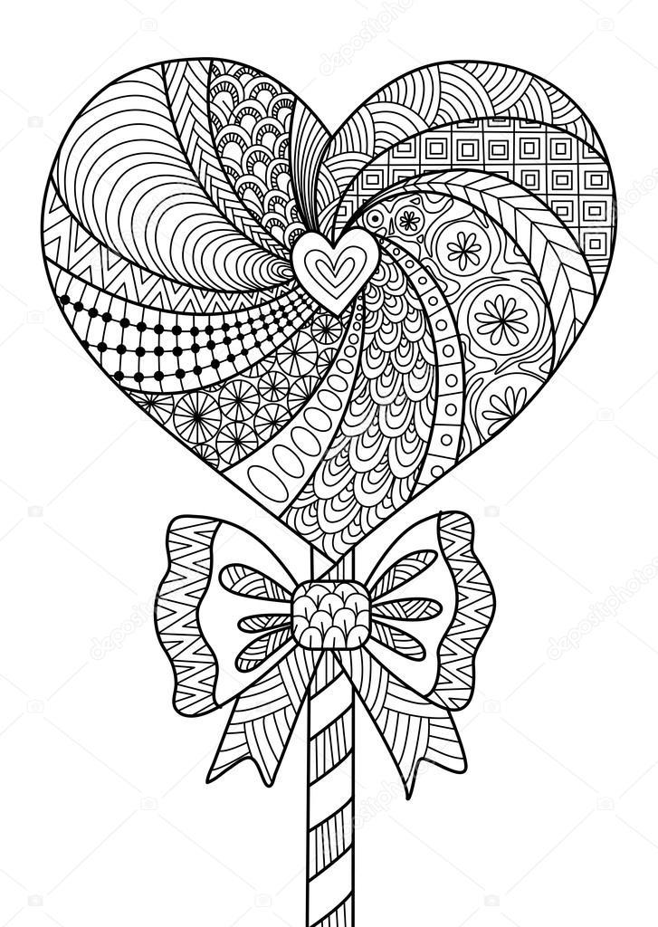727x1024 Heart Lollipop Line Art Design Stock Vector Somjaicindy@gmail