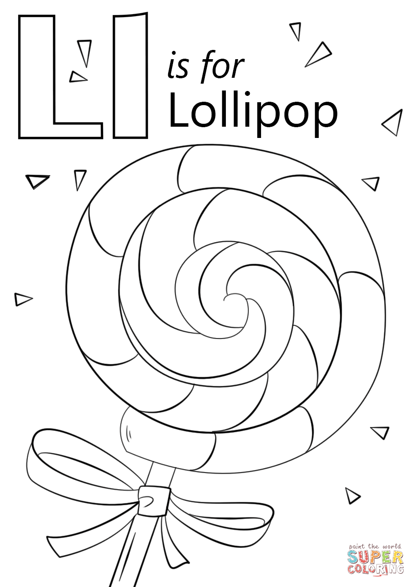 849x1200 Letter L Coloring Pictures To Snazzy Print Draw Is For Lollipop