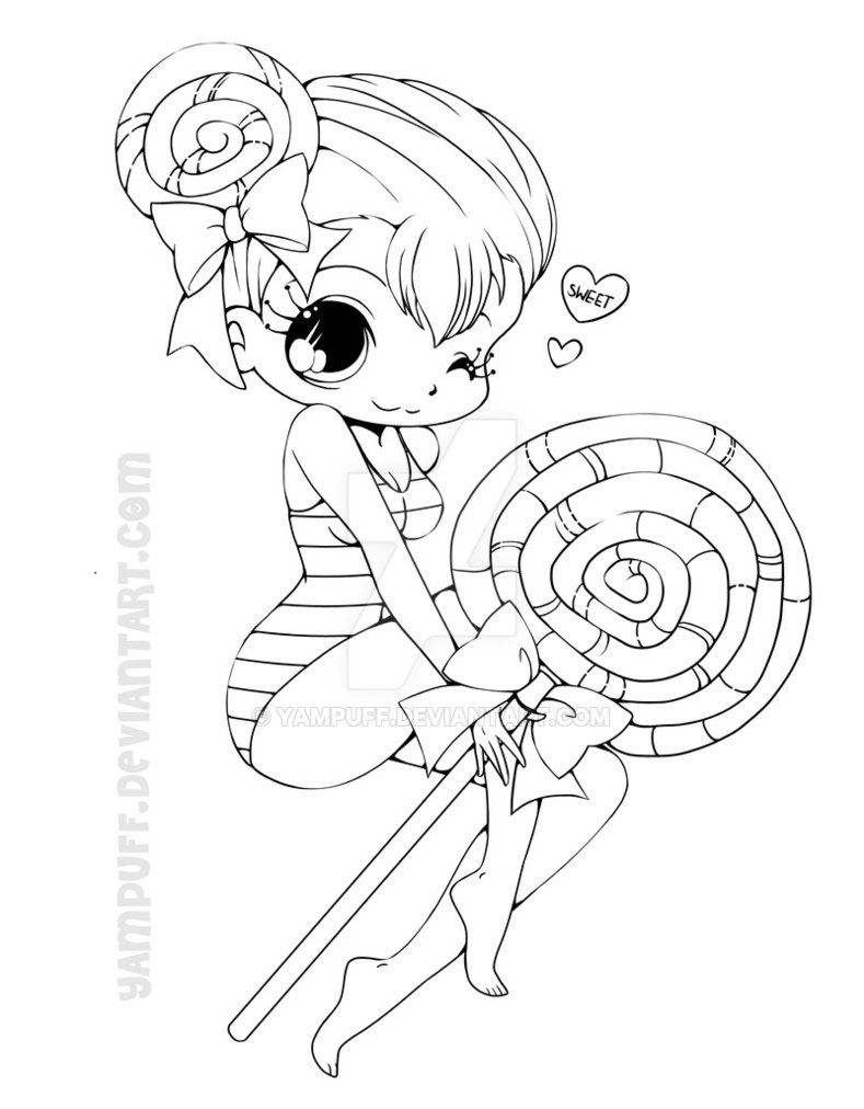789x1012 Lollipop Girl Lineart By Yampuff P Bookmarks