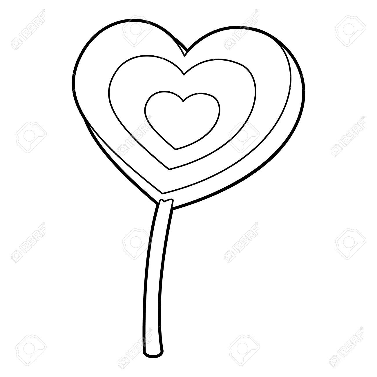 1300x1300 Lollipop Heart Icon. Outline Illustration Of Lollipop Heart Vector