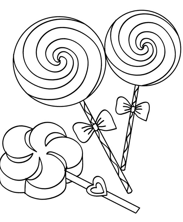 600x729 Three Lollipop Candy Coloring Page Cookie Lollipop