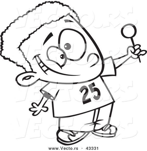 600x620 Vector Of A Cartoon Black Boy Holding Out A Lollipop