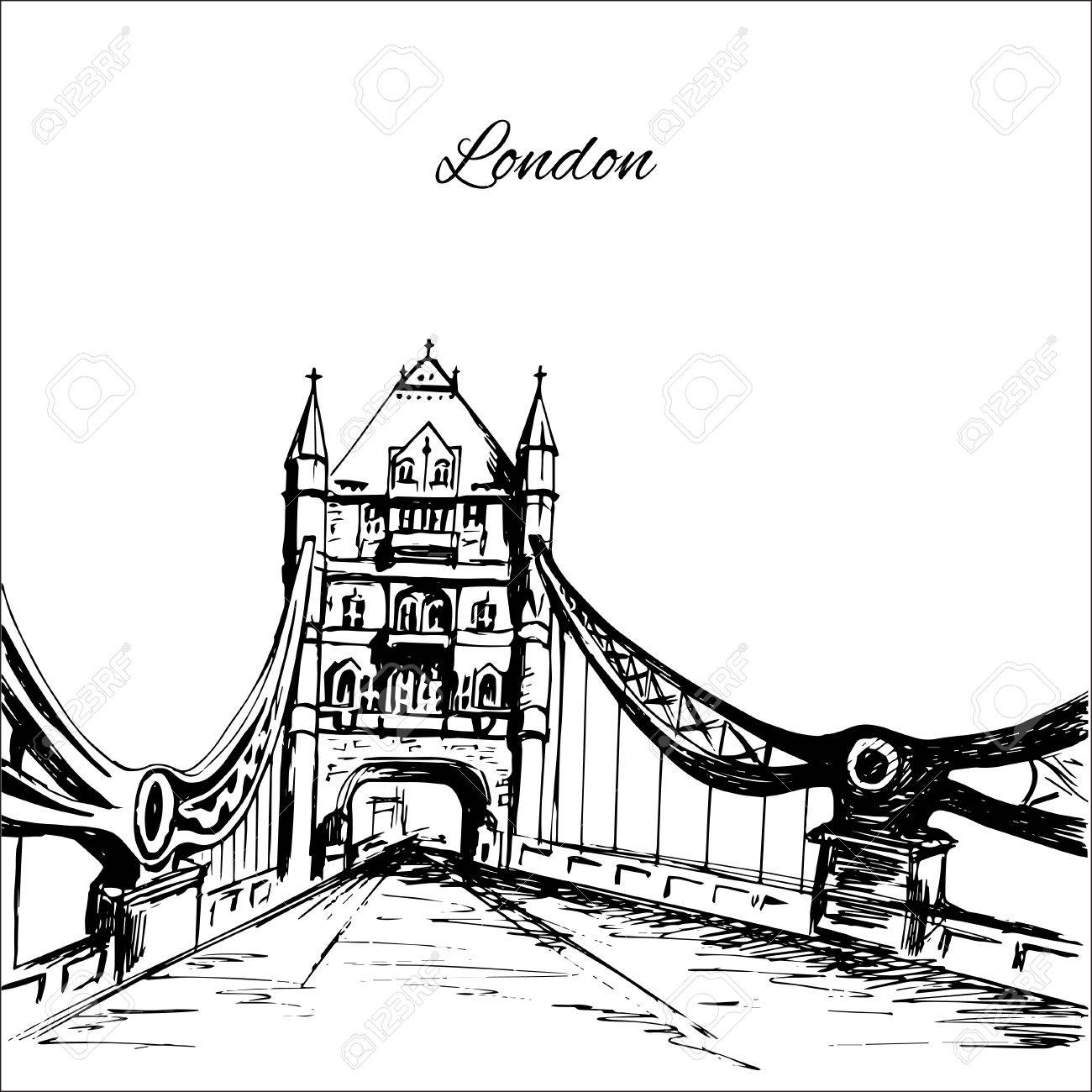 1300x1300 Hand Drawn London Tower Bridge Royalty Free Cliparts, Vectors,