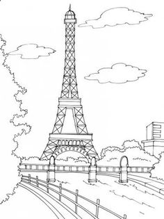 236x315 Paris Buildings Amp Eiffel Tower Cute Coloring Page To Download