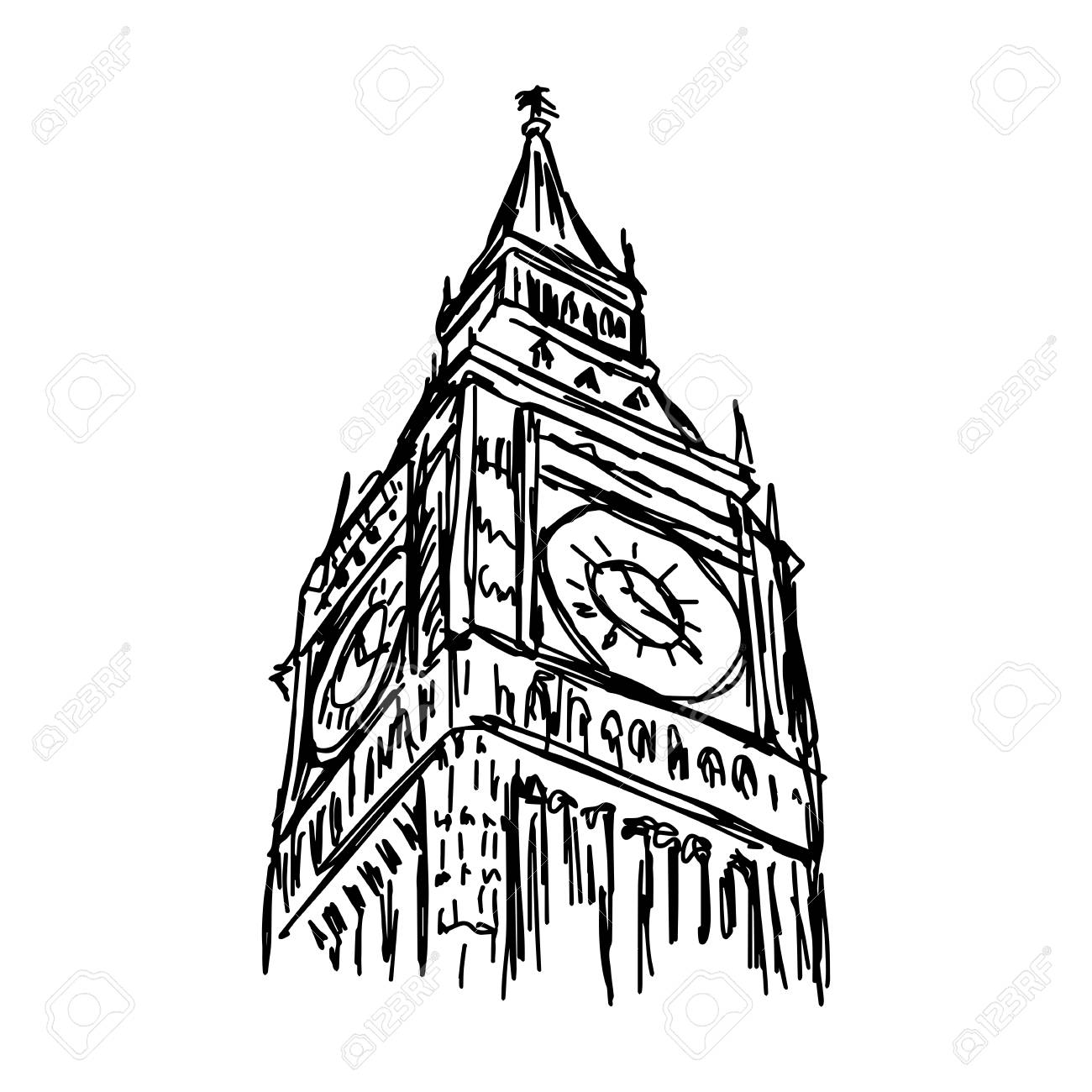 1300x1300 923 Big Ben Sketch Stock Illustrations, Cliparts And Royalty Free