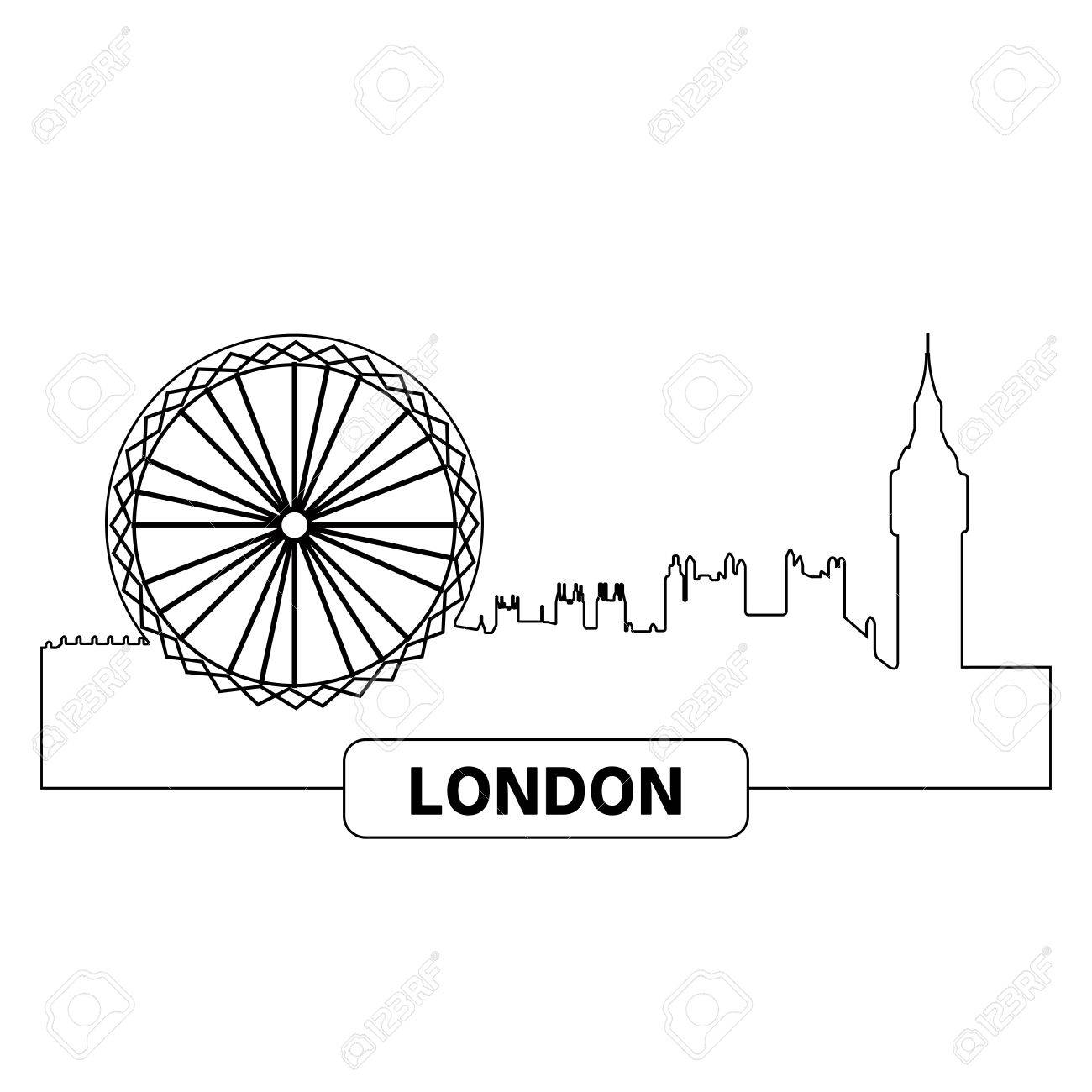 1300x1300 Outline Of A Cityscape Of London, Vector Illustration Royalty Free