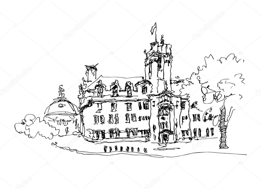 1023x740 Doodle Black And White Ink Sketch Drawing Of Famous Place In Lon