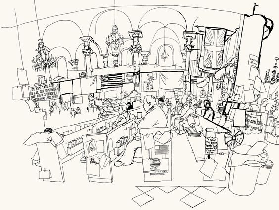 564x425 Lucinda Rogers Ground Zero Ink Line Drawing September 11 New York