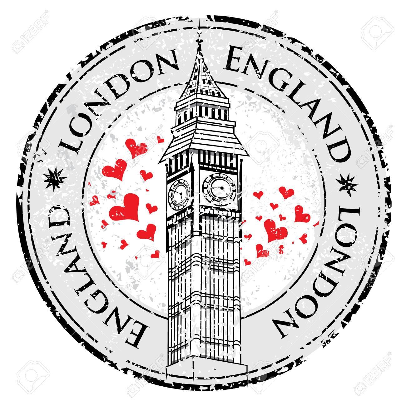 1300x1300 Grunge Love Heart Stamp London Great Britain, Big Ben Tower Vector