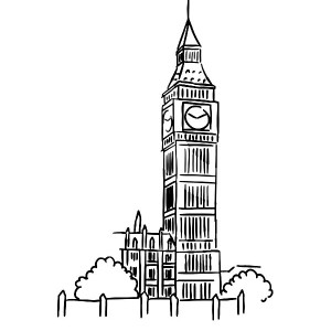 300x300 Sketch Of Big Ben Clock Tower Coloring Page Sun