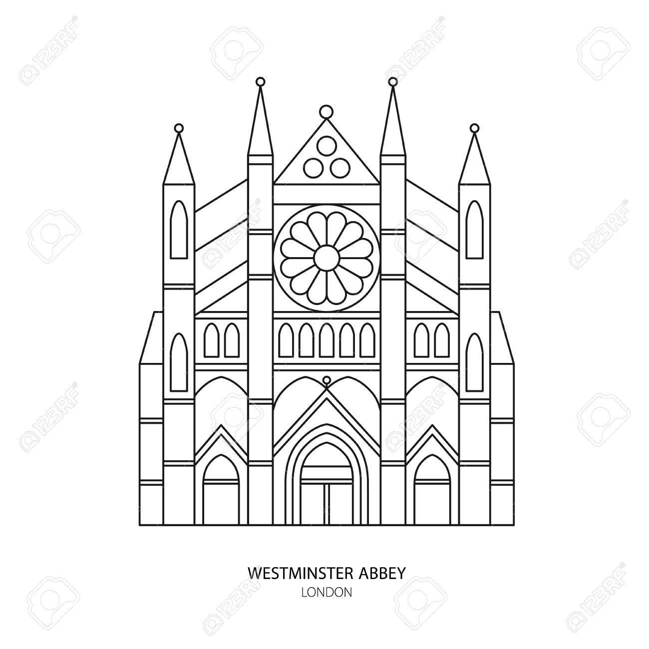 1300x1300 Westminster Abbey, London Landmark Illustration. Outline Design