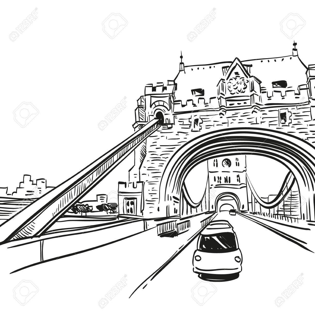 1300x1300 London Bridge Hand Drawn, Vector Illustration Royalty Free