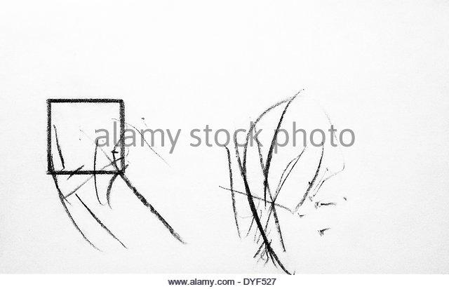 640x412 Experimental Drawing Chimpanzee Congo London Stock Photos