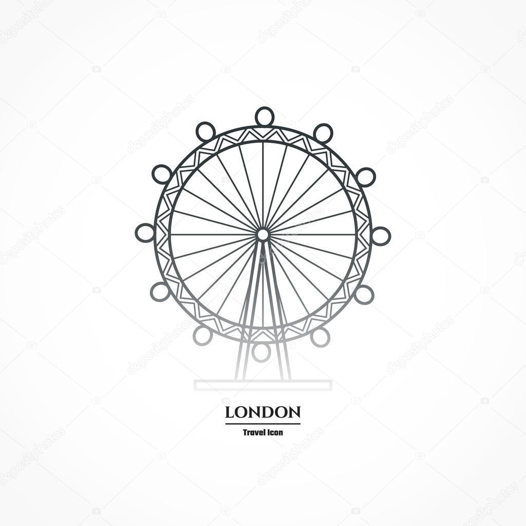 1024x1024 London Eye Entertaiment Icon Outline For Design Stock Vector
